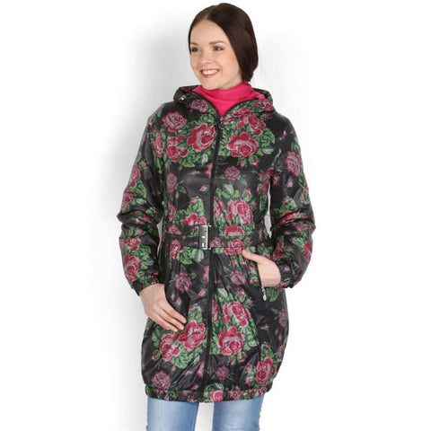 Jacket Demi-season Voila black with roses