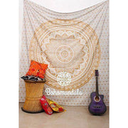 Jaipurhandloom Large Ombre Mandala Tapestry In Golden Brown Ombre Indian Hipp... Tapestries