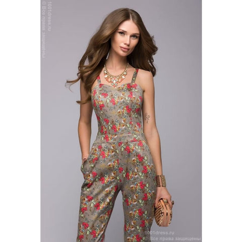 Jumpsuit DM00630BG beige strappy open-top