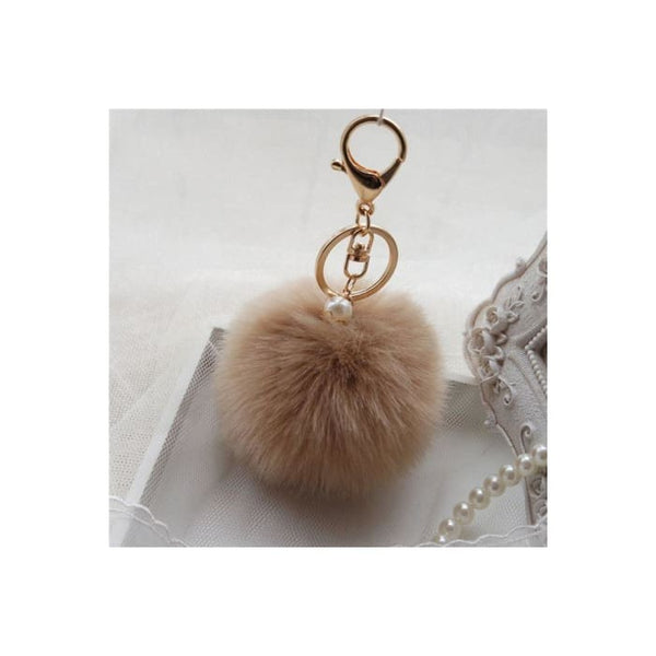 Keychain Cute Simulation Rabbit Fur Ball Key Chain For Car Key Ring Car Ornaments