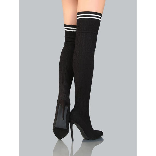 Knee High Cable Knit Sock Boots Black Boots