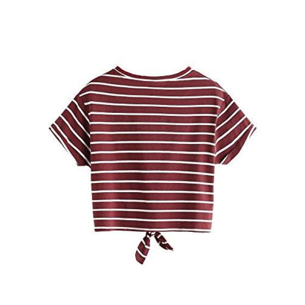 Knot Front Cuffed Sleeve Striped Crop Top Tee T-Shirt Knits & Tees