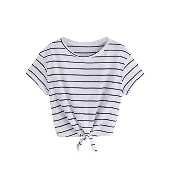 Knot Front Cuffed Sleeve Striped Crop Top Tee T-Shirt Small / Us 0-2 / Blue & White Knits & Tees