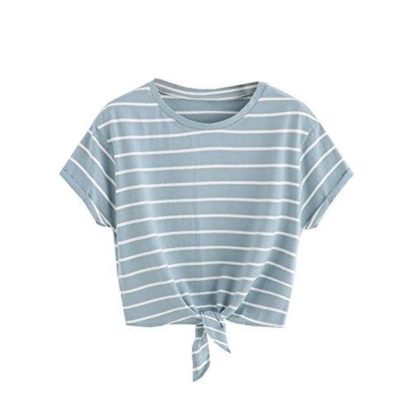 Knot Front Cuffed Sleeve Striped Crop Top Tee T-Shirt Small / Us 0-2 / Green & White Knits & Tees