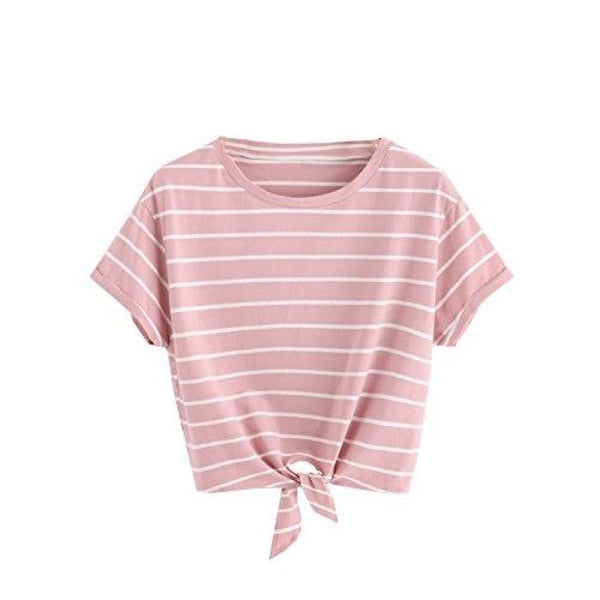 Knot Front Cuffed Sleeve Striped Crop Top Tee T-Shirt Small / Us 0-2 / Pink & White Knits & Tees