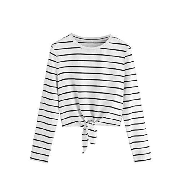 Knot Front Cuffed Sleeve Striped Crop Top Tee T-Shirt Small / Us 0-2 / White & Black Knits & Tees