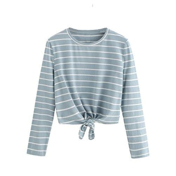 Knot Front Cuffed Sleeve Striped Crop Top Tee T-Shirt Small / Us 0-2 / White & Blue Knits & Tees
