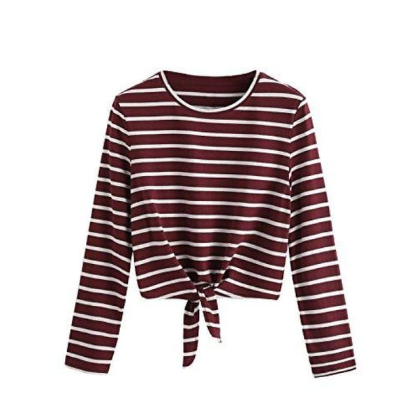 Knot Front Cuffed Sleeve Striped Crop Top Tee T-Shirt Small / Us 0-2 / White & Burgundy Knits & Tees