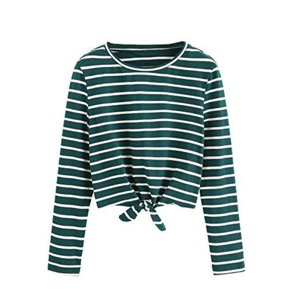 Knot Front Cuffed Sleeve Striped Crop Top Tee T-Shirt Small / Us 0-2 / White & Green Knits & Tees