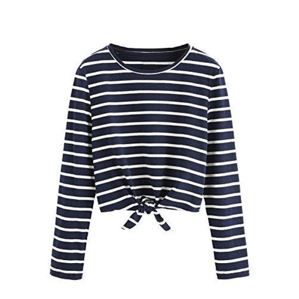 Knot Front Cuffed Sleeve Striped Crop Top Tee T-Shirt Small / Us 0-2 / White & Navy Knits & Tees