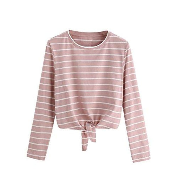 Knot Front Cuffed Sleeve Striped Crop Top Tee T-Shirt Small / Us 0-2 / White & Pink Knits & Tees