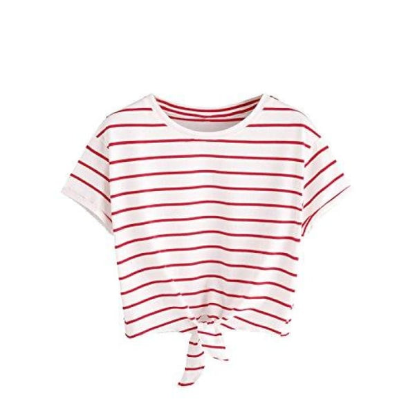 Knot Front Cuffed Sleeve Striped Crop Top Tee T-Shirt Small / Us 0-2 / White & Red Knits & Tees