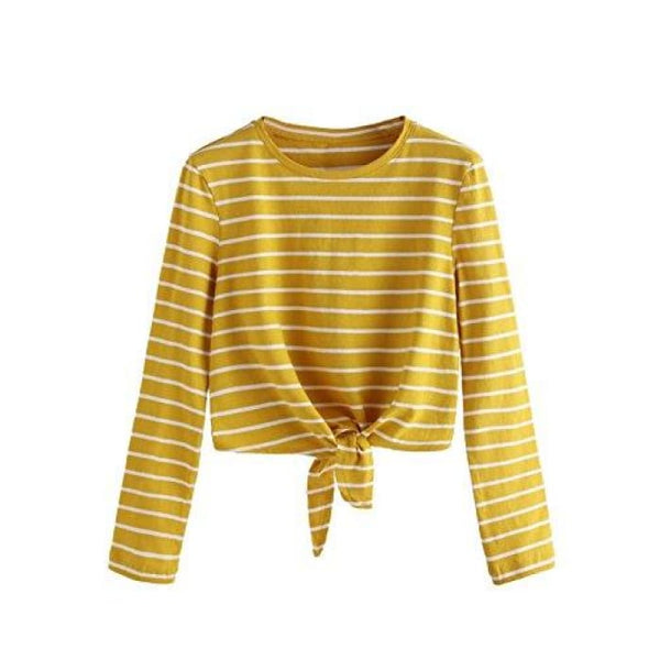 Knot Front Cuffed Sleeve Striped Crop Top Tee T-Shirt Small / Us 0-2 / Yellow & White Long Sleeve Knits & Tees