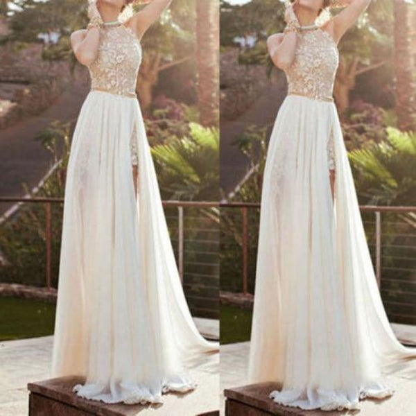 Lace Long Chiffon Bridesmaid Evening Formal Party Cocktail Dress Gown Prom Ns Dresses