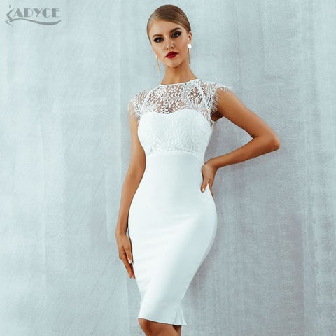 Lace Short Sleeve Hollow Out Midi Club Dresses Evening Party Dress