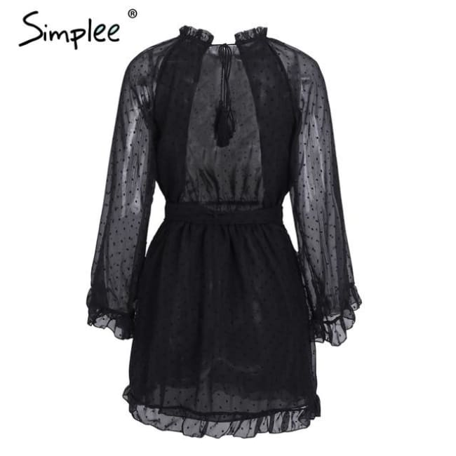 Lace Up Backless Mesh Dress Women Black / S Dresses