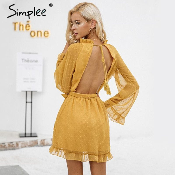 Lace Up Backless Mesh Dress Women Dresses