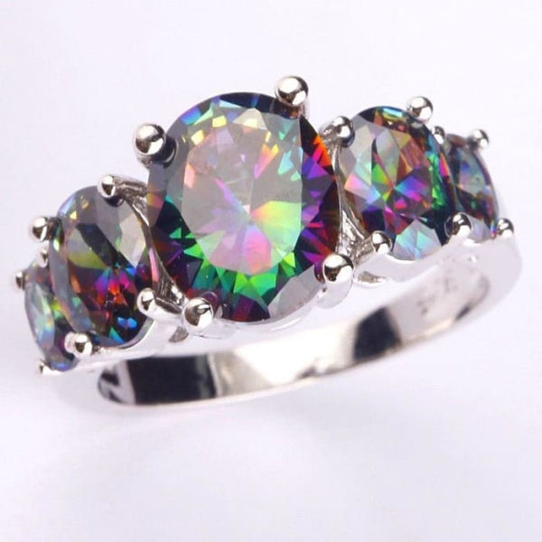 Lingmei Fashion Jewelry Brilliant Oval Cut Rainbow Topaz Gemstones Silver Rings Size 6 7 8 9 10