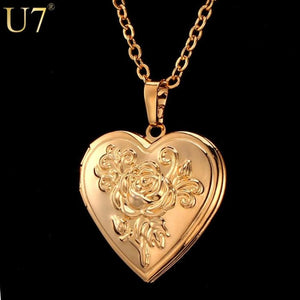 Locket Rose Flower Jewelry Valentines Gift 18K Real Gold Plated Pendant Necklaces