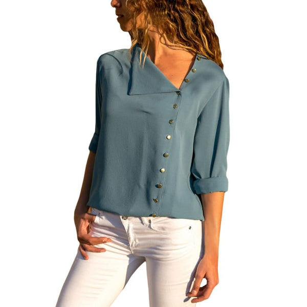Long Sleeve Button Detail Loose Fitting Chiffon Blouse Solid Tops (S-Xxl) Blouses & Button-Down Shirts