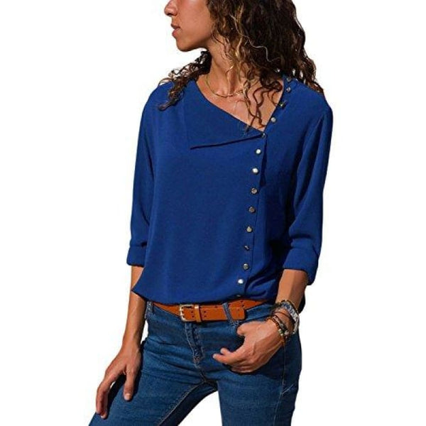 Long Sleeve Button Detail Loose Fitting Chiffon Blouse Solid Tops (S-Xxl) (Us 4-6)Small / Blue Blouses & Button-Down Shirts