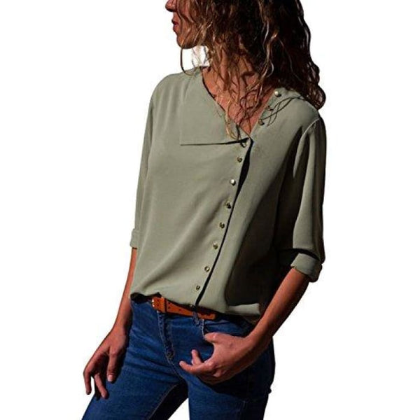 Long Sleeve Button Detail Loose Fitting Chiffon Blouse Solid Tops (S-Xxl) (Us 4-6)Small / Green Blouses & Button-Down Shirts