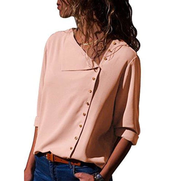 Long Sleeve Button Detail Loose Fitting Chiffon Blouse Solid Tops (S-Xxl) (Us 4-6)Small / Light Pink Blouses & Button-Down Shirts
