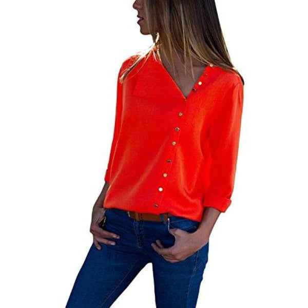 Long Sleeve Button Detail Loose Fitting Chiffon Blouse Solid Tops (S-Xxl) (Us 4-6)Small / Red Blouses & Button-Down Shirts