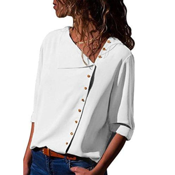 Long Sleeve Button Detail Loose Fitting Chiffon Blouse Solid Tops (S-Xxl) (Us 4-6)Small / White Blouses & Button-Down Shirts