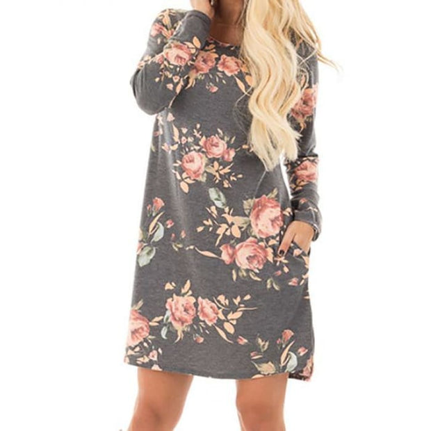 Long Sleeve Mini Dresses Grey Floral Printed / S Dresses
