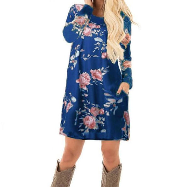 Long Sleeve Mini Dresses Navy Blue Printed / S Dresses