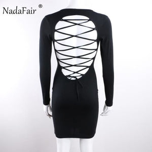 Long Sleeve Stretchy Sexy Club Bandage Bodycon Dress Black / S Dresses