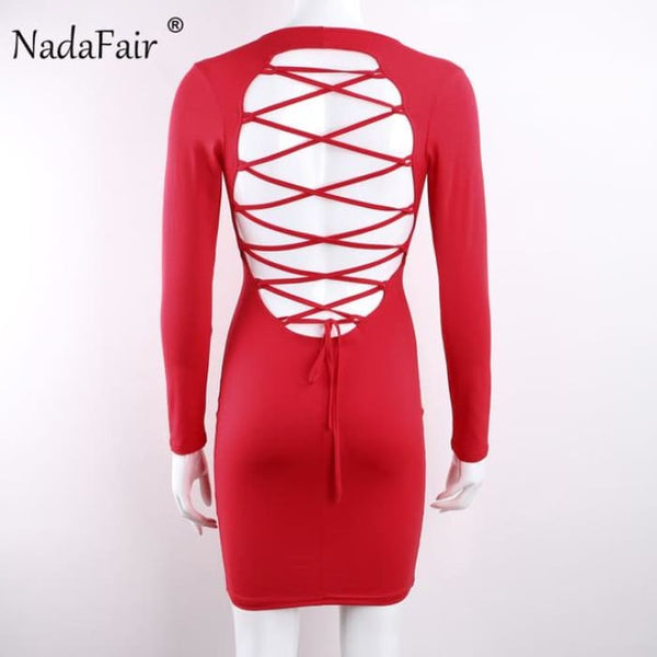 Long Sleeve Stretchy Sexy Club Bandage Bodycon Dress Red / S Dresses