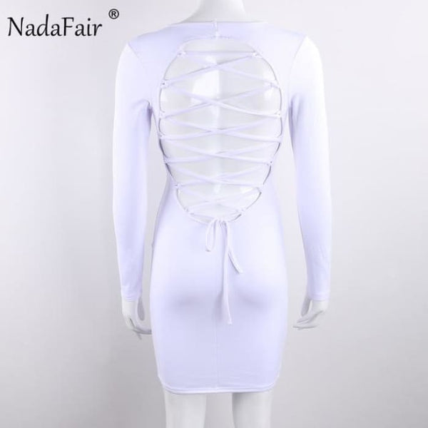 Long Sleeve Stretchy Sexy Club Bandage Bodycon Dress White / S Dresses