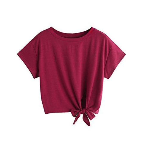 Loose Short Sleeve Summer Crop T-Shirt Tops Blouse Knits & Tees
