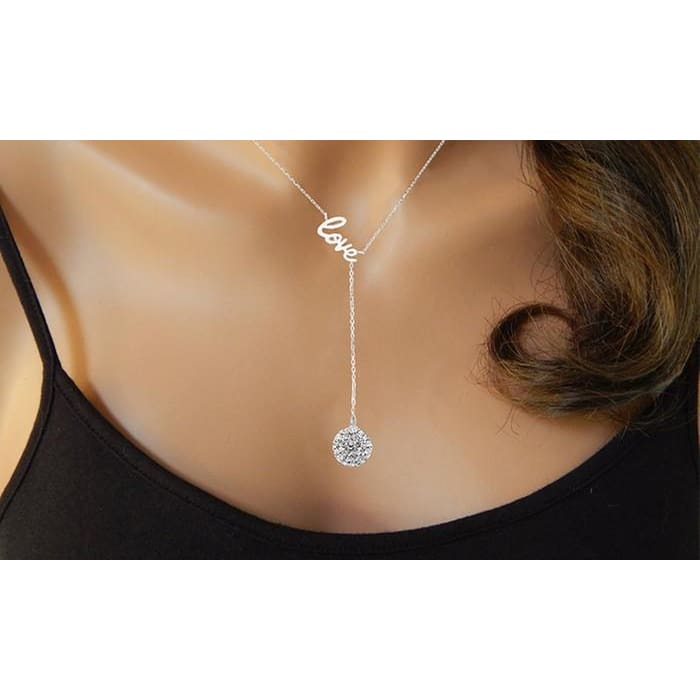 Love Y Necklace In Sterling Silver With Swarovski Elements