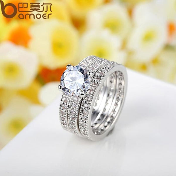 Luxury Brand Fashion Silver Color Bridal Set Ring For Women Rings