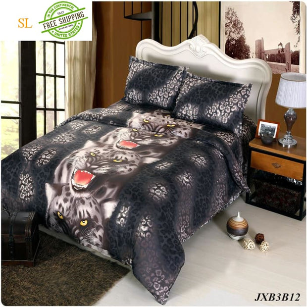 Luxury Washed 100% Polister Luxury Bedding Set 3D Anmail Tiger Peacock Bedding Queen King Size Beige / King Bedding Sets