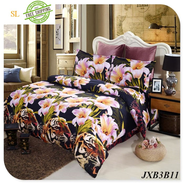 Luxury Washed 100% Polister Luxury Bedding Set 3D Anmail Tiger Peacock Bedding Queen King Size Black / King Bedding Sets