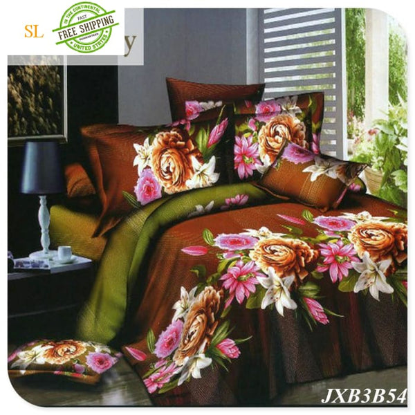 Luxury Washed 100% Polister Luxury Bedding Set 3D Anmail Tiger Peacock Bedding Queen King Size Burgundy / King Bedding Sets