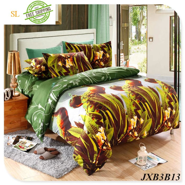 Luxury Washed 100% Polister Luxury Bedding Set 3D Anmail Tiger Peacock Bedding Queen King Size Ivory / King Bedding Sets