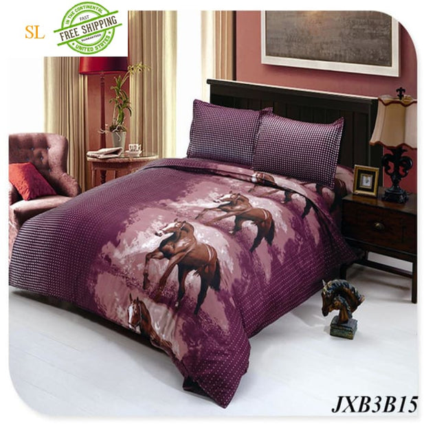 Luxury Washed 100% Polister Luxury Bedding Set 3D Anmail Tiger Peacock Bedding Queen King Size Light Green / King Bedding Sets