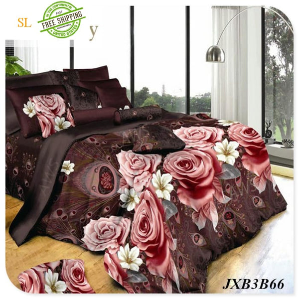 Luxury Washed 100% Polister Luxury Bedding Set 3D Anmail Tiger Peacock Bedding Queen King Size Plum / King Bedding Sets