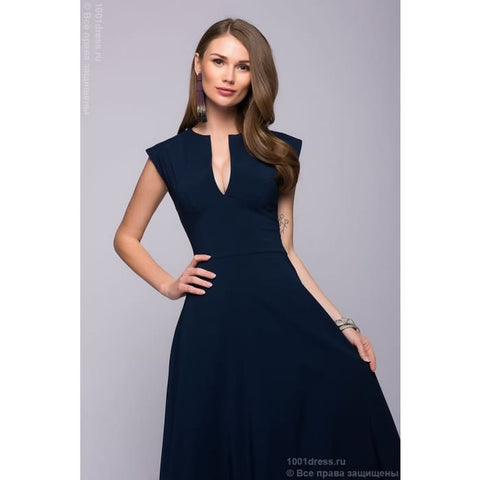 Maxi length dress DM00697DB with deep neckline; dark-blue Colour