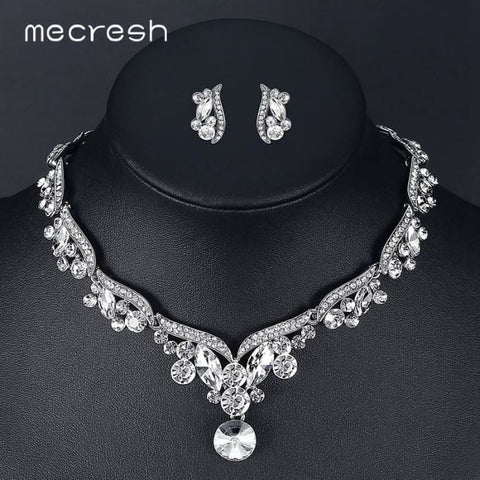 Mecresh Crystal Bridal Jewelry Sets Jewelry Sets