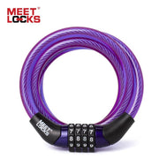 Meetlocks Combination Coiled Cable Lock For Bike Dia.6X1200Mm(L) & 8X1200Mm(L) With Code Tag Bicycle Lock Security Bicycle Bicycle Lock