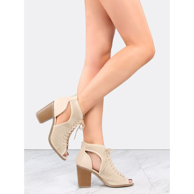 Mesh Cut Out Ankle Booties Beige Boots