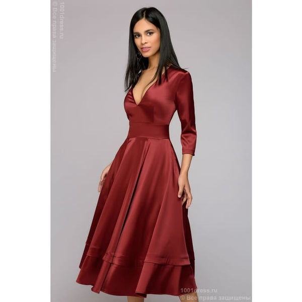 Midi length dress DM00899BO with deep cut; color: burgundy