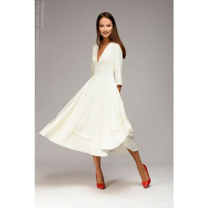 Midi length dress DM00923WH with deep cut; White color