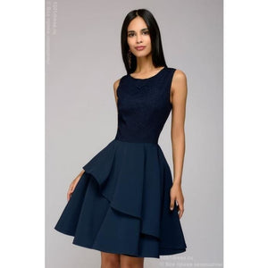 Mini length dress DM00662DB with lace top; dark-blue colour